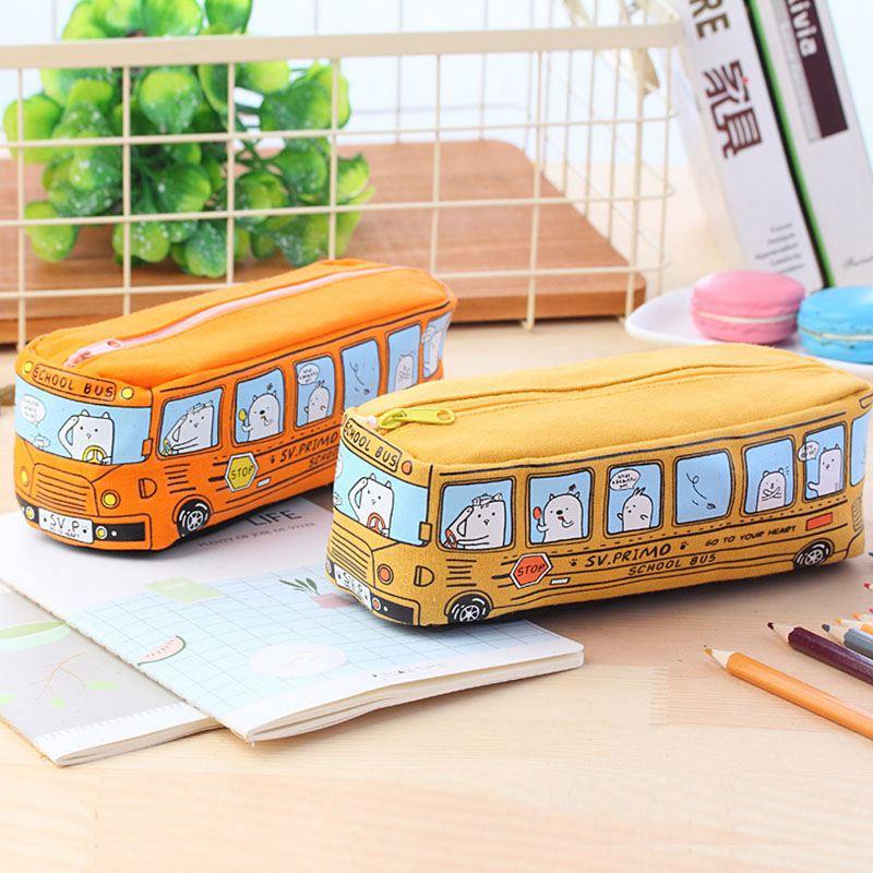 4X-Etui-a-crayons-mignon-d-039-autobus-scolaire-sac-en-toile-de-voiture-de-gran-T3 miniature 3