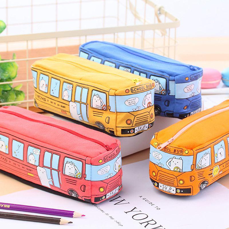 4X-Etui-a-crayons-mignon-d-039-autobus-scolaire-sac-en-toile-de-voiture-de-gran-T3 miniature 4