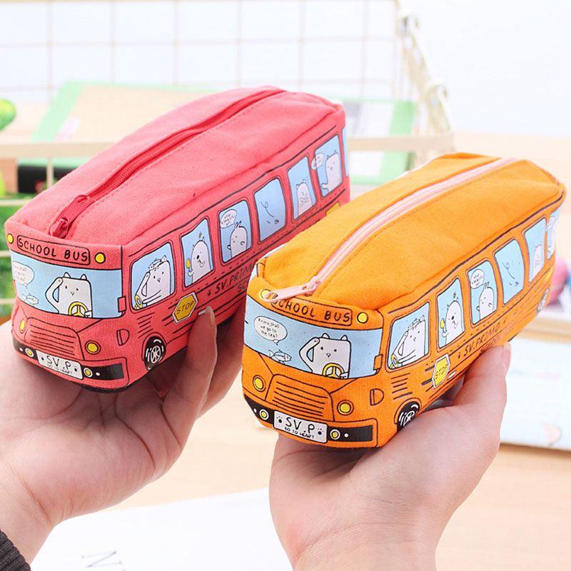 4X-Etui-a-crayons-mignon-d-039-autobus-scolaire-sac-en-toile-de-voiture-de-gran-T3 miniature 6