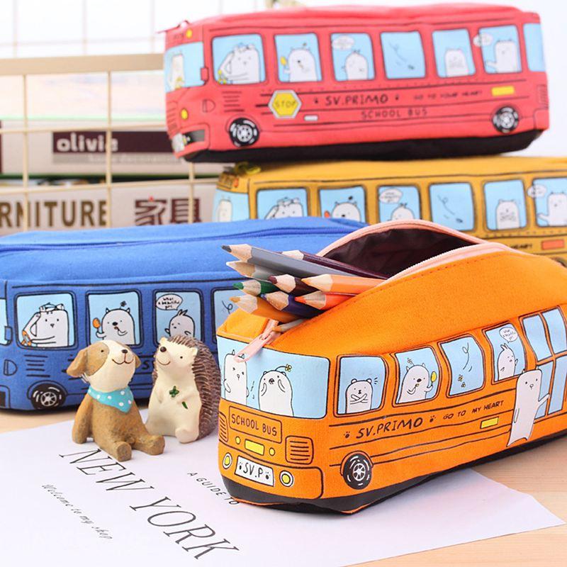 4X-Etui-a-crayons-mignon-d-039-autobus-scolaire-sac-en-toile-de-voiture-de-gran-T3 miniature 9