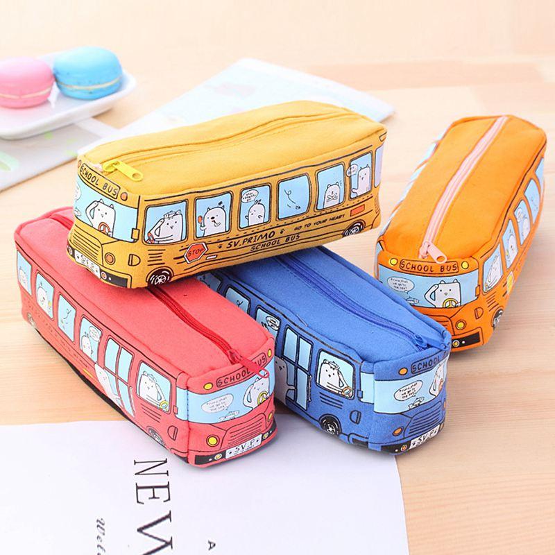 4X-Etui-a-crayons-mignon-d-039-autobus-scolaire-sac-en-toile-de-voiture-de-gran-T3 miniature 11