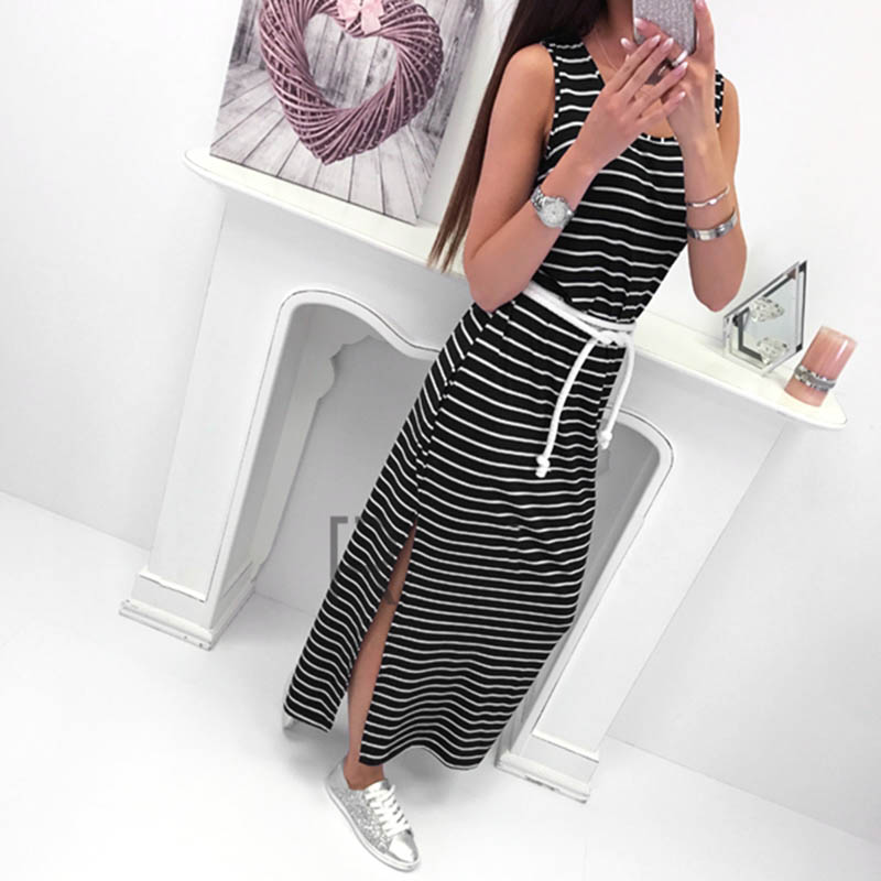 f18663590eb39 Women O Neck Sleeveless Striped Bodycon Dress Side Split Long Dress ...
