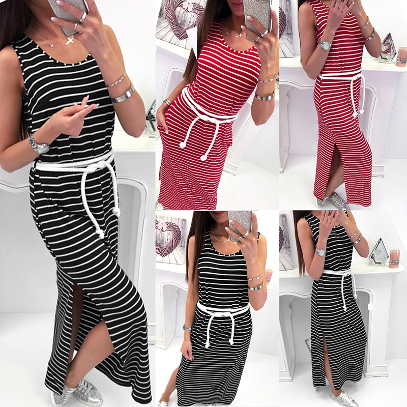 4e59d9d477227 Women O Neck Sleeveless Striped Bodycon Dress Side Split Long Dress ...