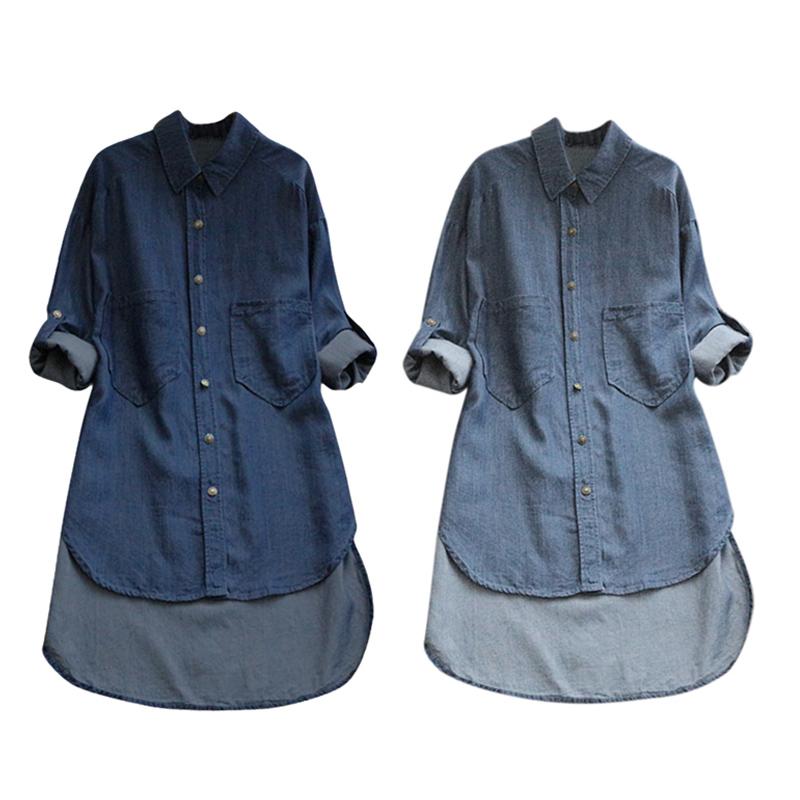 6X(damen Lapel Neck Long Sleeve Buttons Down Denim Shirt Ladies Casual Soli O5J2