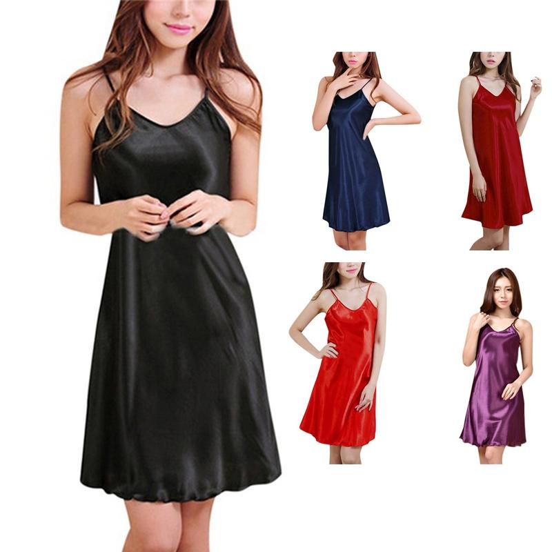 online store 23669 42d52 Dettagli su Camicia da notte sexy in raso di seta per donna Camicie da  notte casual con D2G6