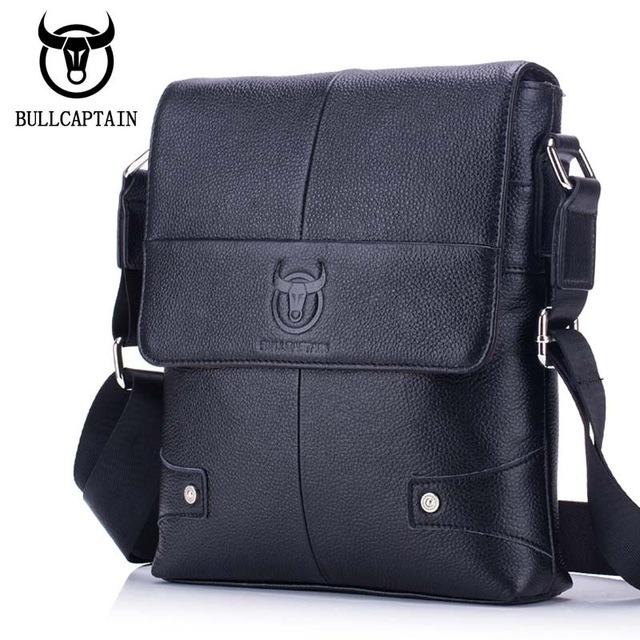 BULLCAPTAIN-Sac-de-valise-pour-hommes-Sac-a-bandouliere-en-cuir-veritable-pou-T6 miniature 3