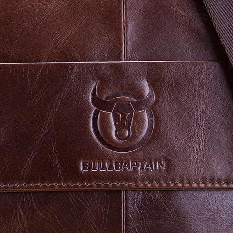 BULLCAPTAIN-Sac-de-valise-pour-hommes-Sac-a-bandouliere-en-cuir-veritable-pou-T6 miniature 16