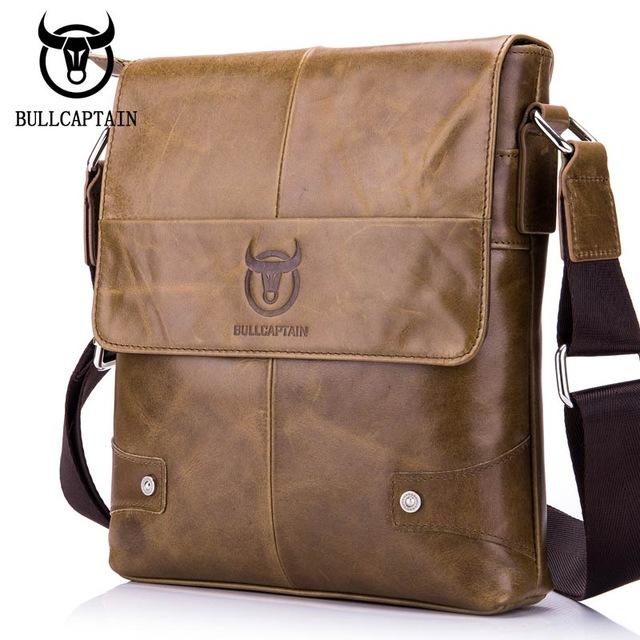 BULLCAPTAIN-Sac-de-valise-pour-hommes-Sac-a-bandouliere-en-cuir-veritable-pou-T6 miniature 19
