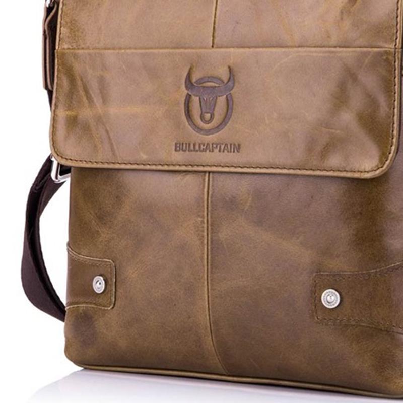 BULLCAPTAIN-Sac-de-valise-pour-hommes-Sac-a-bandouliere-en-cuir-veritable-pou-T6 miniature 21