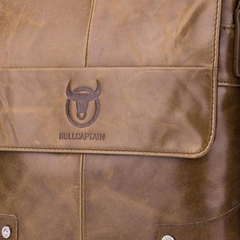 BULLCAPTAIN-Sac-de-valise-pour-hommes-Sac-a-bandouliere-en-cuir-veritable-pou-T6 miniature 23