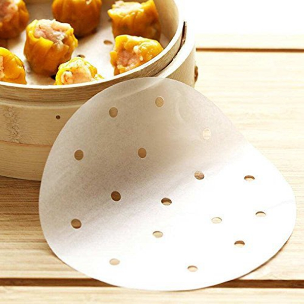 1X(100pcs Air Fryer Liners, 9inch Bamboo Steamer Liners