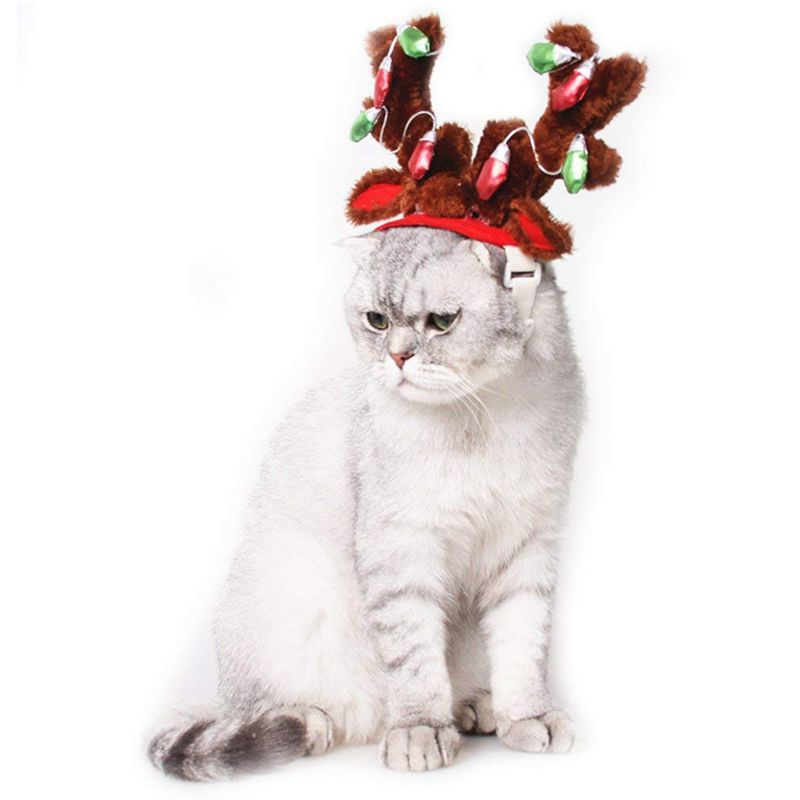 10X-Dog-Elk-Reindeer-Antler-Hat-Cap-Dog-Cat-Pet-Christmas-Outfits-Small-Headwe9 thumbnail 5