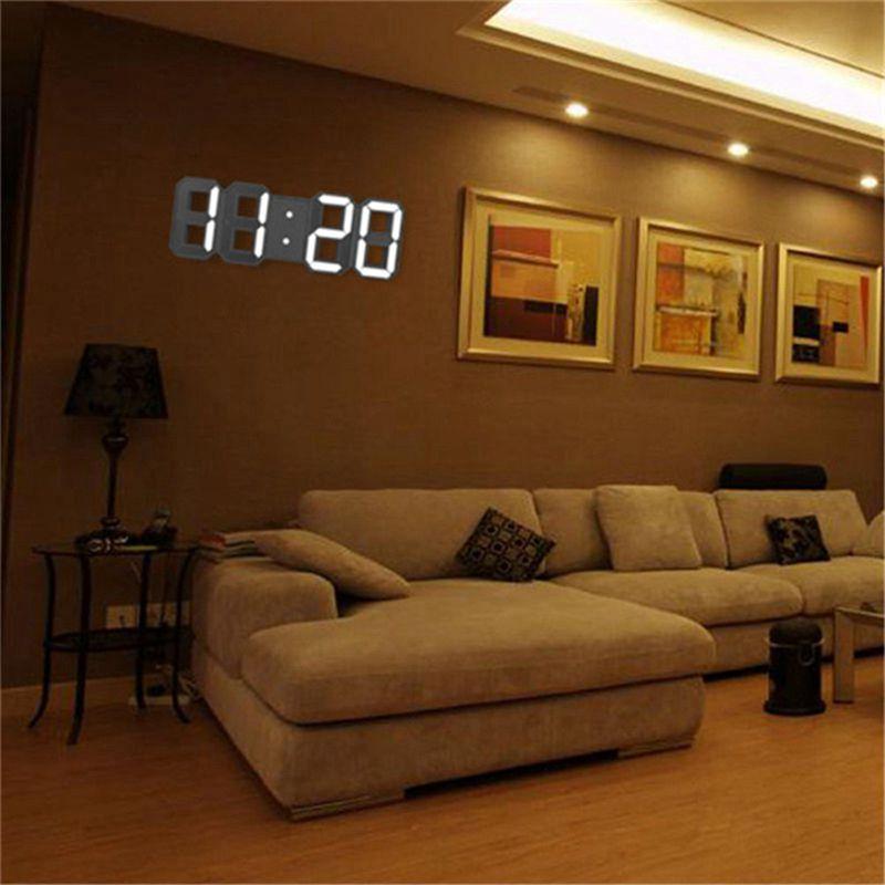Horloge-murale-LED-3D-Reveil-numerique-moderne-Affichage-de-maison-cuisine-bu-Y2 miniature 5
