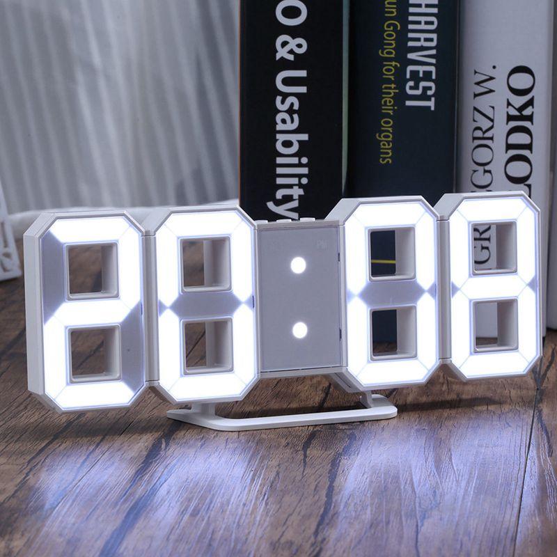 Horloge-murale-LED-3D-Reveil-numerique-moderne-Affichage-de-maison-cuisine-bu-Y2 miniature 7