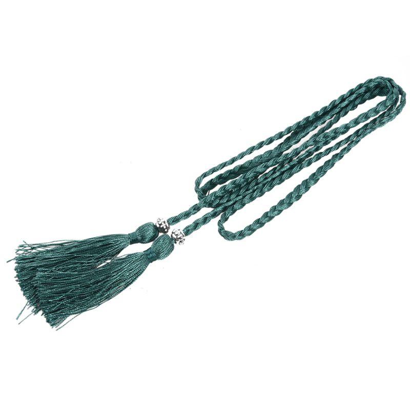 Woven-Pompon-Ceinture-Noeud-Decore-Taille-Chaine-Taille-Corde-P5N3 miniature 59