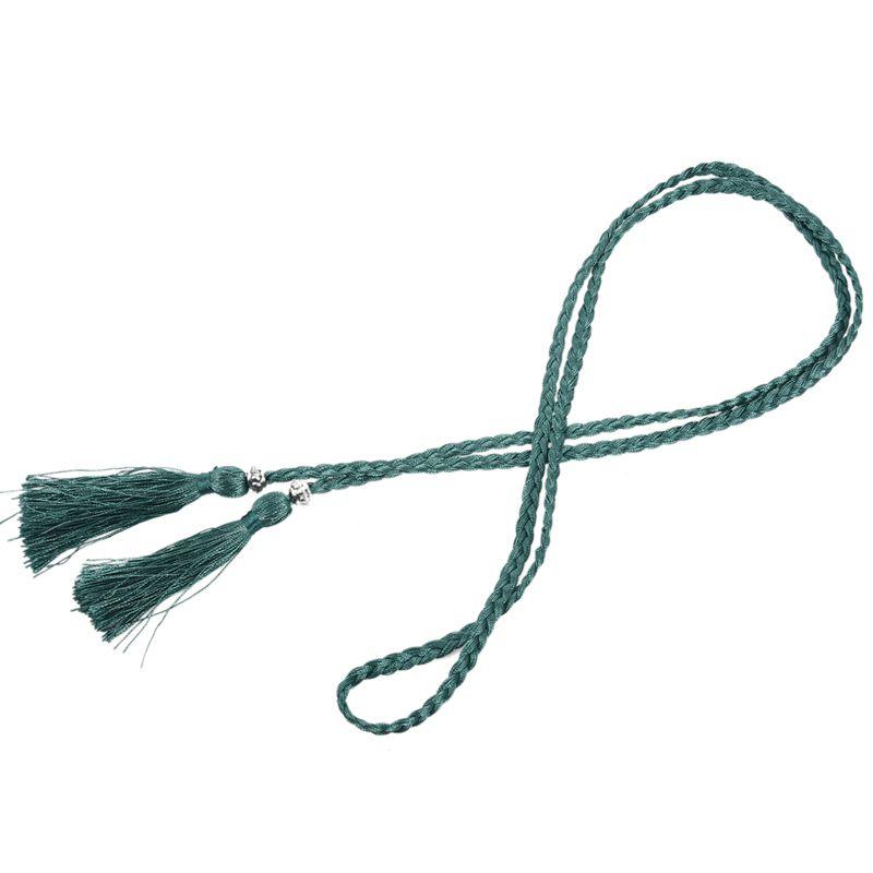 Woven-Pompon-Ceinture-Noeud-Decore-Taille-Chaine-Taille-Corde-P5N3 miniature 60