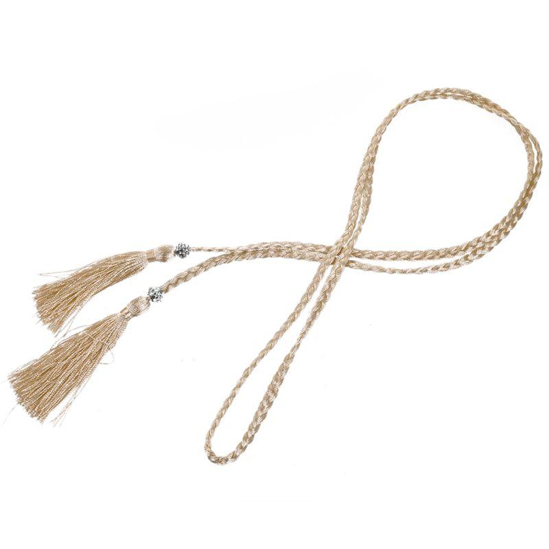 Woven-Pompon-Ceinture-Noeud-Decore-Taille-Chaine-Taille-Corde-P5N3 miniature 95