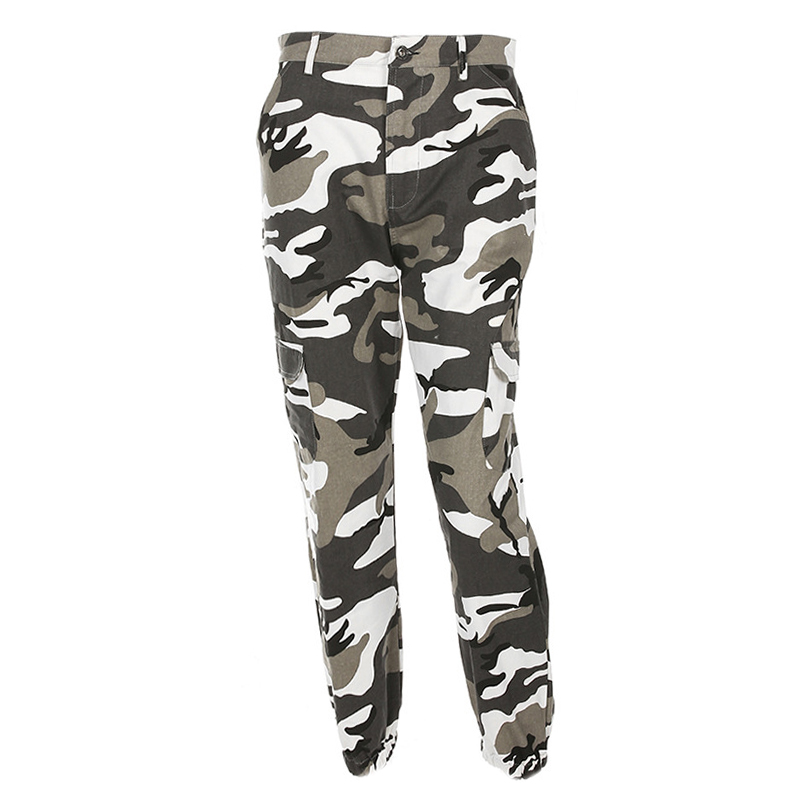 Pantalones-Largos-de-Camuflaje-Suelto-de-Alta-Cintura-de-Moda-de-Mujer-Pant-C9B6 miniatura 3