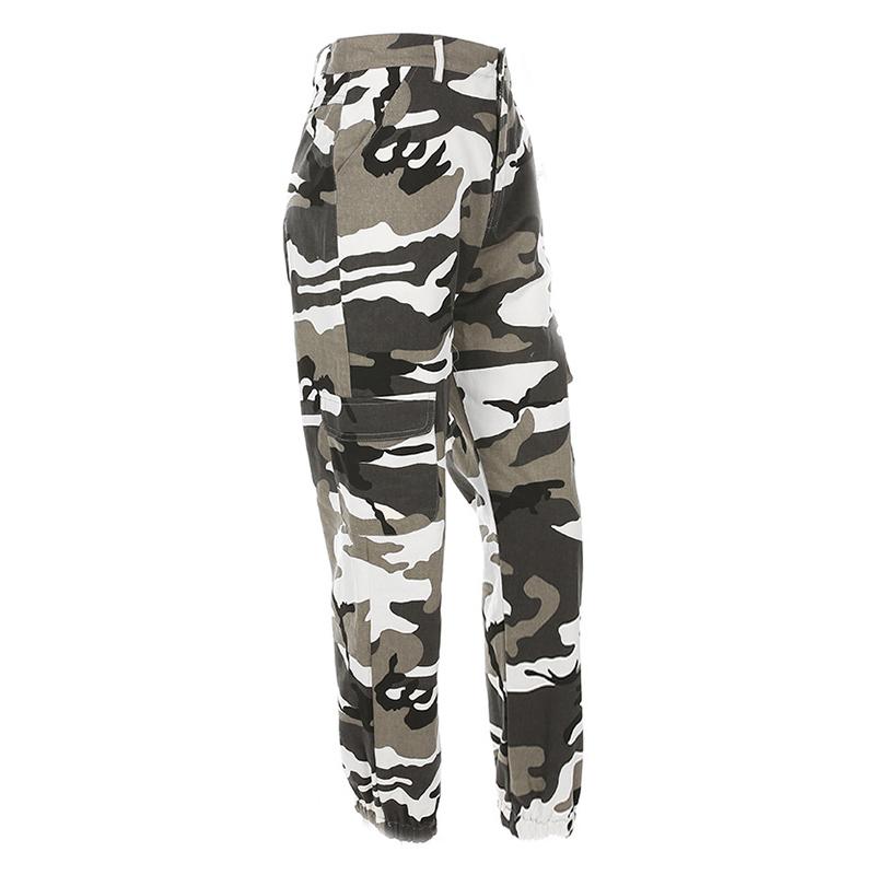 Pantalones-Largos-de-Camuflaje-Suelto-de-Alta-Cintura-de-Moda-de-Mujer-Pant-C9B6 miniatura 4