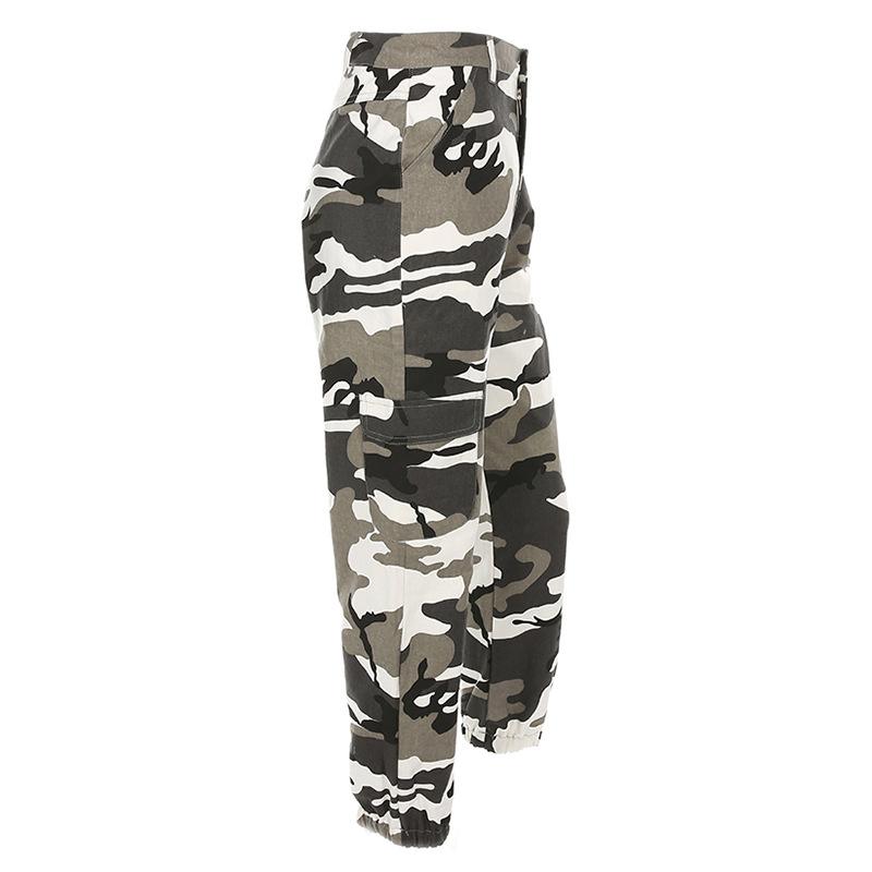 Pantalones-Largos-de-Camuflaje-Suelto-de-Alta-Cintura-de-Moda-de-Mujer-Pant-C9B6 miniatura 5
