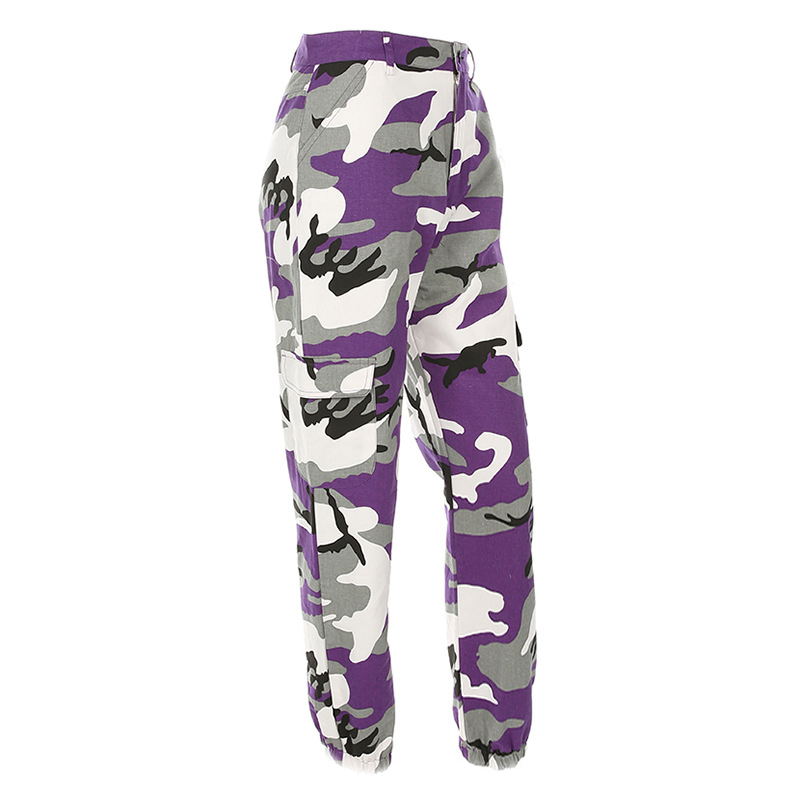 Pantalones-Largos-de-Camuflaje-Suelto-de-Alta-Cintura-de-Moda-de-Mujer-Pant-C9B6 miniatura 14