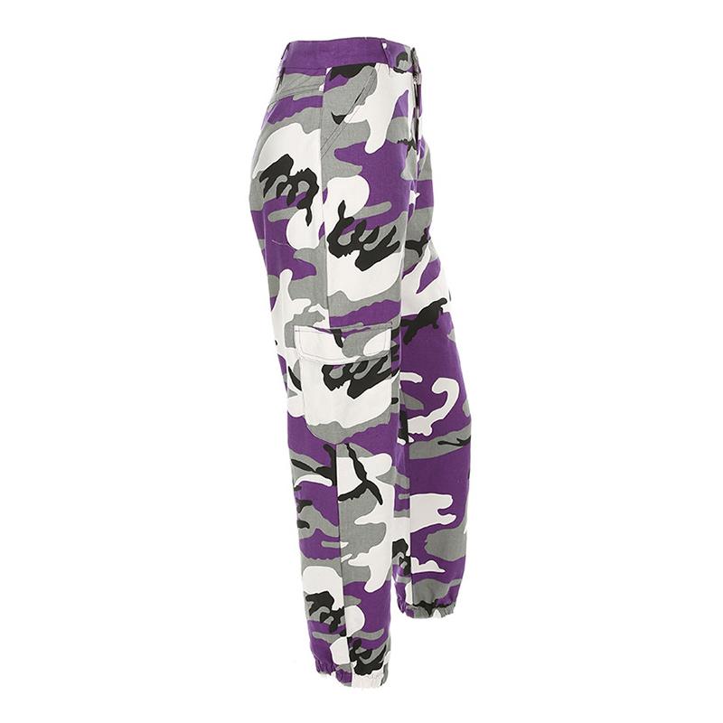 Pantalones-Largos-de-Camuflaje-Suelto-de-Alta-Cintura-de-Moda-de-Mujer-Pant-C9B6 miniatura 15