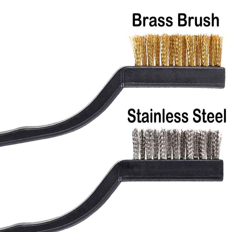 Stainless Steel + Brass Curved Handle Masonry br Q5S2 12 pieces Scratch Brush