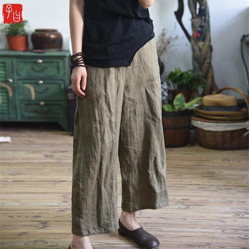 Women-Vintage-Cotton-Linen-Solid-high-Waist-Wide-Leg-Pants-Ladies-Casual-Lo-Z6L7