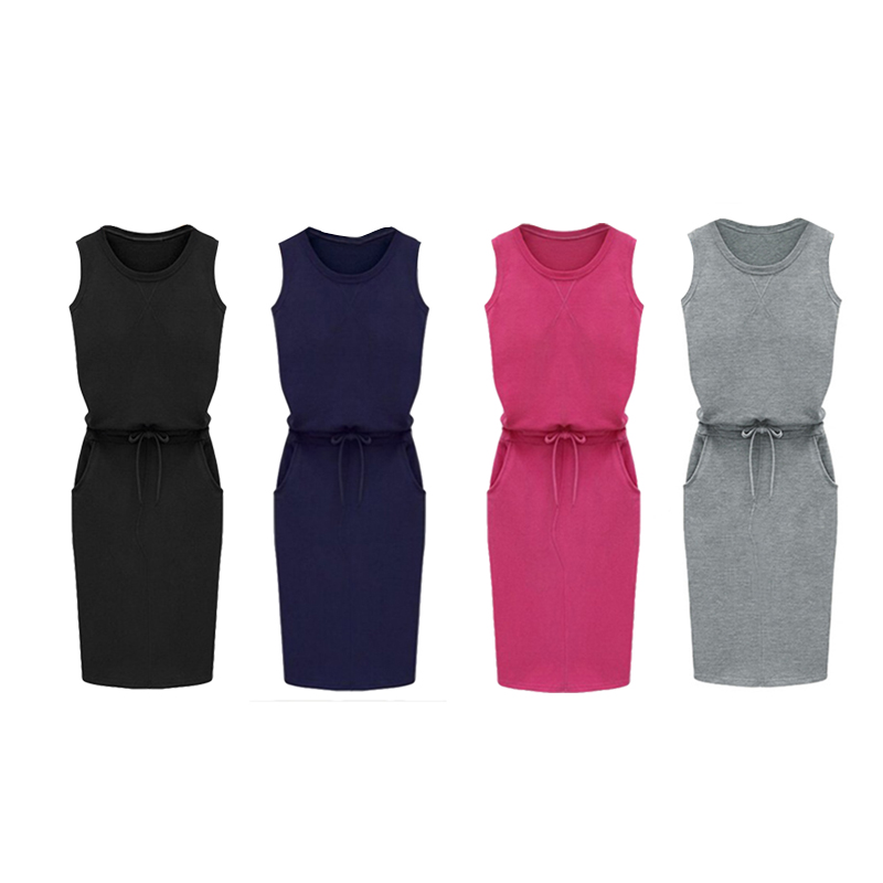 6X(Fashion damen Sleeveless Belt With Pockets Pencil Sundress O-neck Dress O1D7