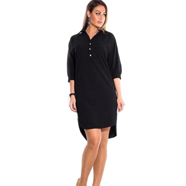 Stilvolle Damen Frauen lässig O-Neck Langarm Button Mini Kleid ElR8 02
