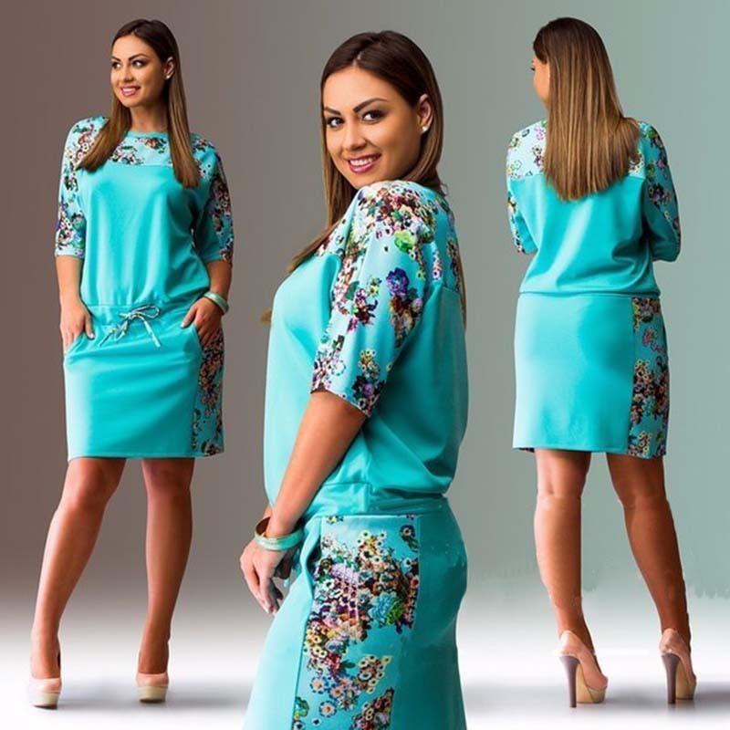 Robe-imprimee-de-grande-taille-Robe-droite-Robe-confortable-sexy-Vetements-Ro-V8 miniature 3
