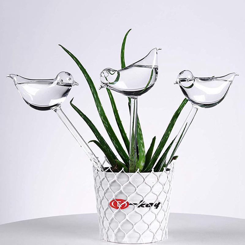 3 Pack Plant Waterer Self Watering Globes, Bird Shape Hand Blown Clear G R6O3 1X Garden Watering