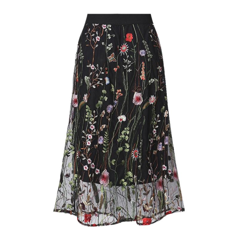 0a7f0c70e6 1X(Women Fashion Vintage Long Skirts Elegant Black Lace Floral ...