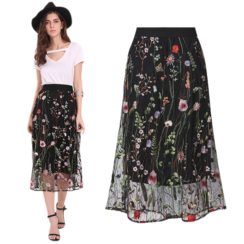 eed127d46e Gender: Female Material: Lace,Polyester Type: Skirt Pattern Type: Floral  Clothing Length: Mid-Calf Waist Type: High Waist Features: Elastic Waist, Floral ...