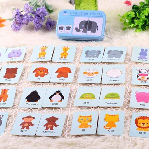 30X(Baby Infant 32pcs Flash Card Jigsaw cognition puzzle ...