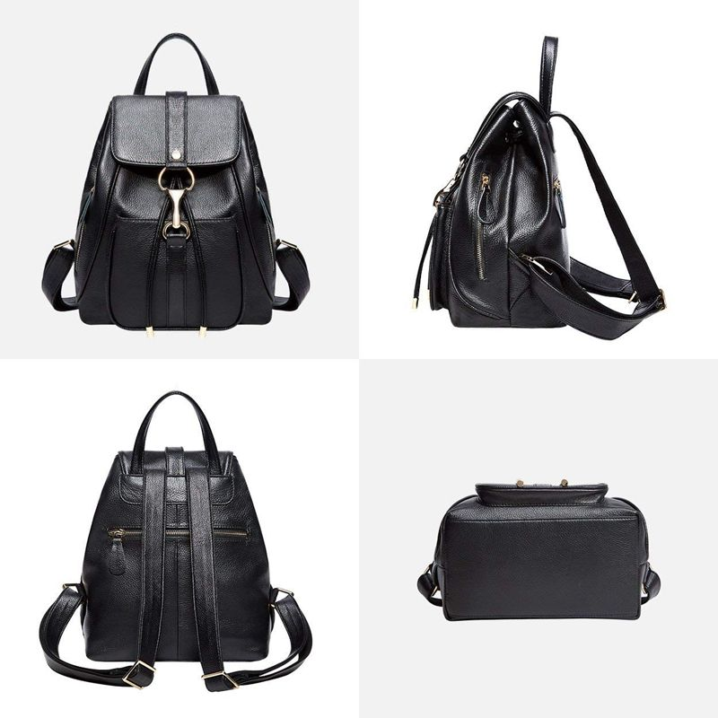 02e3840118b8 Leather Backpacks Purse for Women Ladies Fashion Travel Shoulder Bag (Black  P8Y3