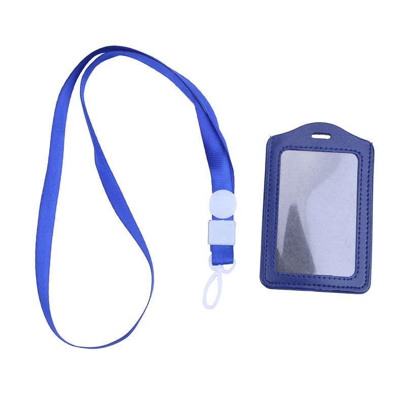 10Pcs-PU-Leather-Pocket-ID-Card-Pass-Badge-Holders-Case-With-Neck-Strap-Lan-G5P4 thumbnail 2
