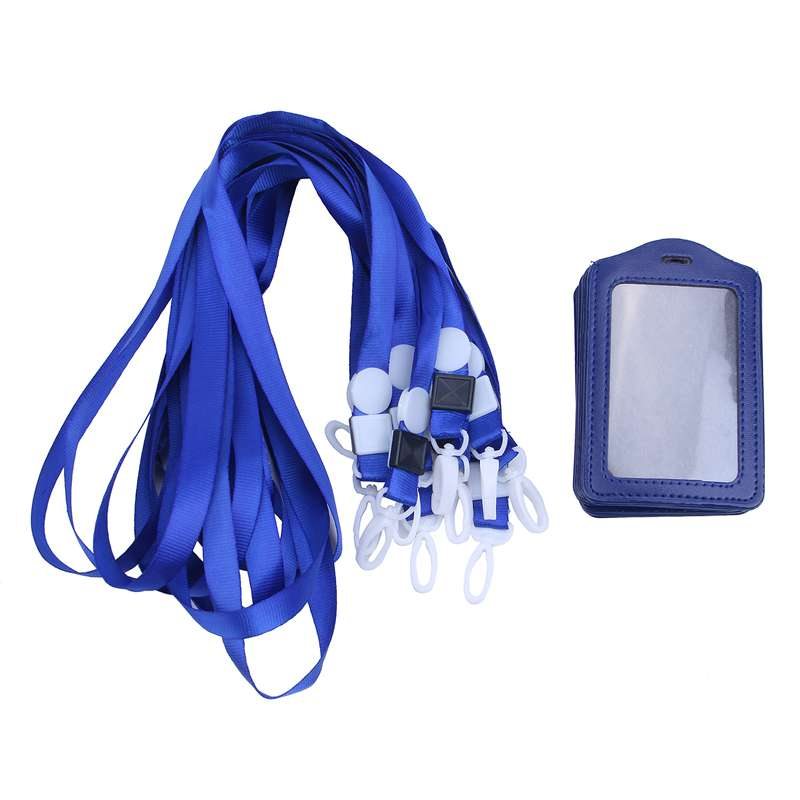 10Pcs-PU-Leather-Pocket-ID-Card-Pass-Badge-Holders-Case-With-Neck-Strap-Lan-G5P4 thumbnail 8