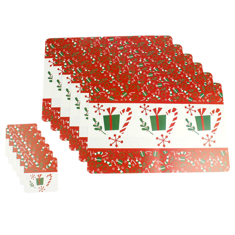 10X(12Pcs Set Christmas Tableware Placemats Coaster Xmas Party Supplies (Gi H8X3