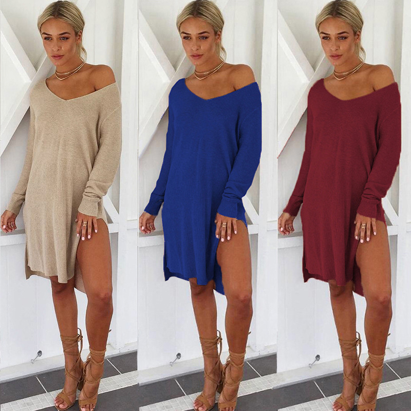 6899c02baac Details about 1X(Women Sexy One Shoulder V Neck Long Sleeve Knitted Sweater  Dress Ladies J2M9)
