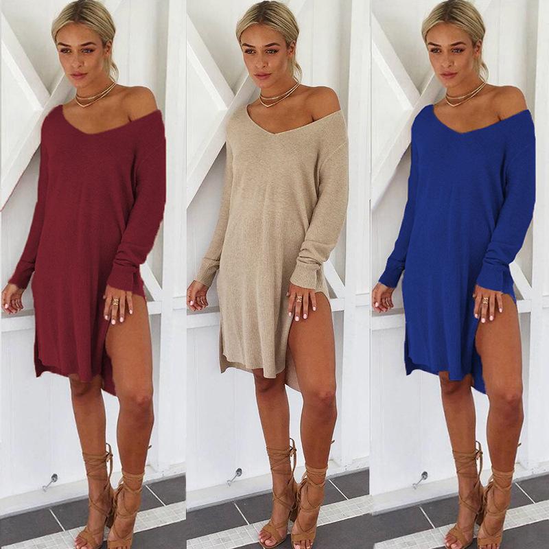 Femmes Une Sexy Une Femmes Epaule V Cou A Manches Longues Pull Robe Tricotee Dames Dec W1F7 9e6a0b