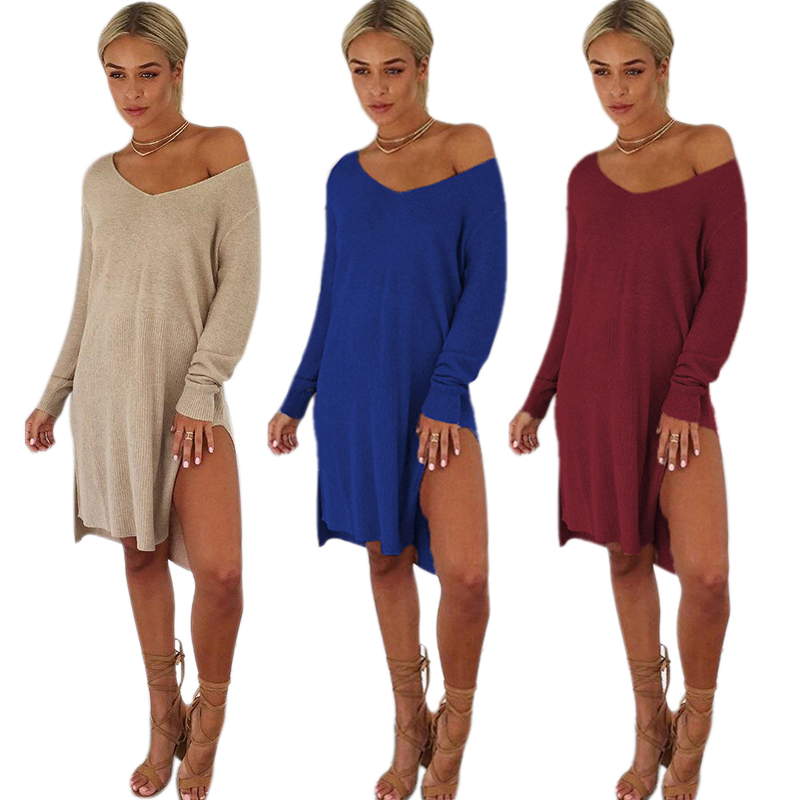 17cd5315149 Women Sexy One Shoulder V Neck Long Sleeve Knitted Sweater Dress ...