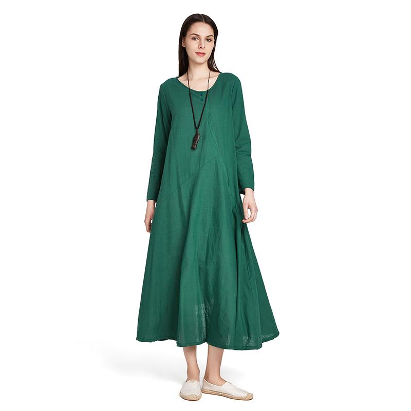 Frauen Vintage Langarm Baumwolle Leinen Langes Kleid Damen ...