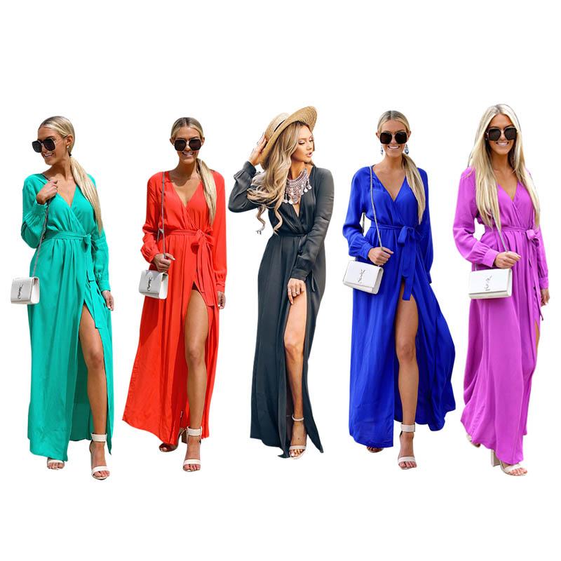 Gender  Female Type  Dress Pattern Type  Solid Neckline  V Neck Sleeve Style   Regular Sleeve Length  Long Sleeve Waist Type  High Waist Clothing Length   ... 26e65d885e52