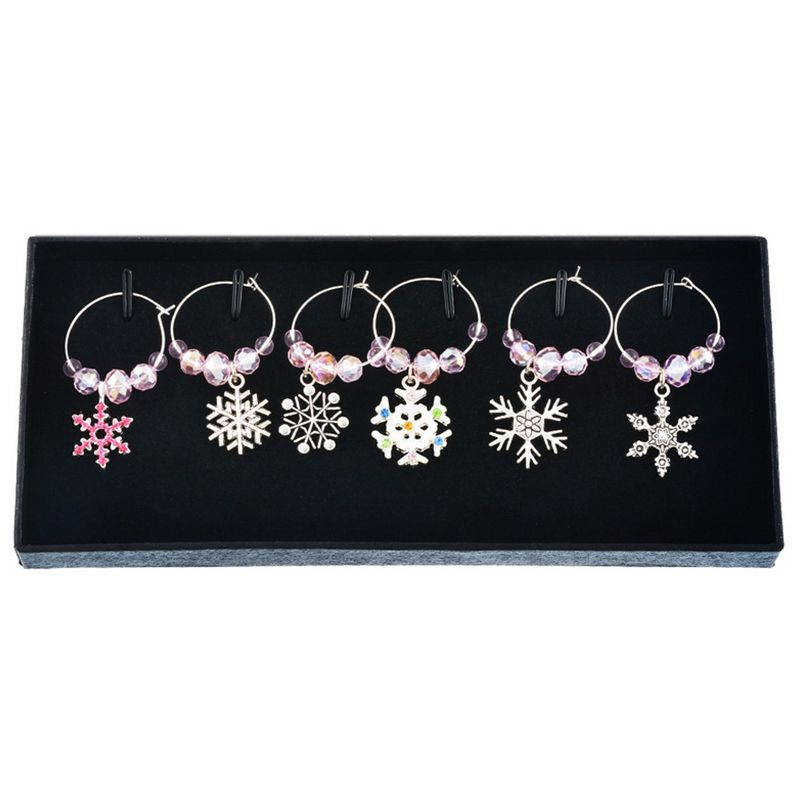 2X-Mixed-6pcs-Christmas-Pendants-Wine-Glass-Charms-Marker-Tag-Set-with-Gift6C3 thumbnail 6