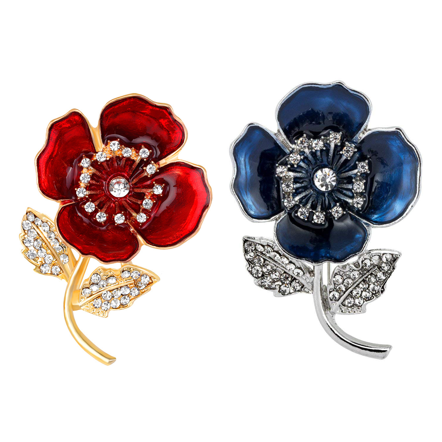 2X(Poppy Brooches Lapel Pin Badges Crystal Banquet Red Poppy Flower
