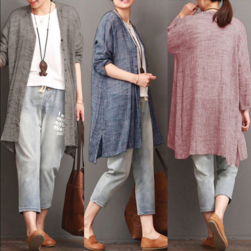 Women-Fashion-Loose-Solid-Color-V-Neck-Long-Sleeve-Blouse-Cardigan-Ladies-C-H5G6
