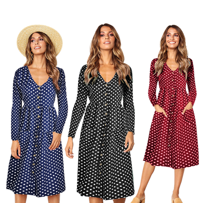 2x Damenmode V Ausschnitt Langarm Knopf Tasche Midi Kleid Damen Casual Holi6s9 Ebay