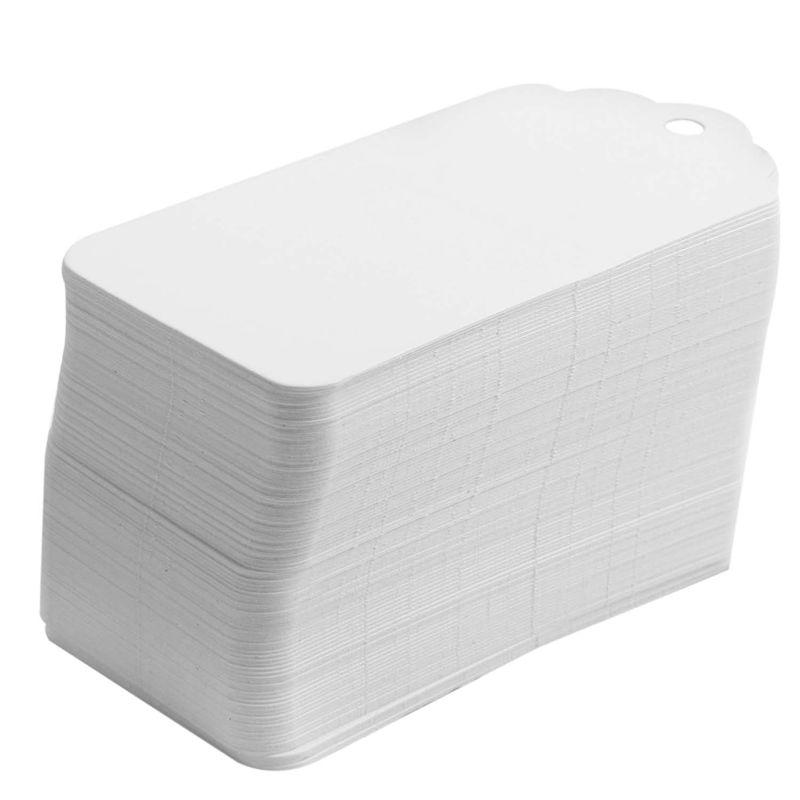 100-Scallop-Kraft-Paper-Wedding-Birthday-Gift-Tags-Blank-Luggage-Label-9X4-J5P6 thumbnail 3