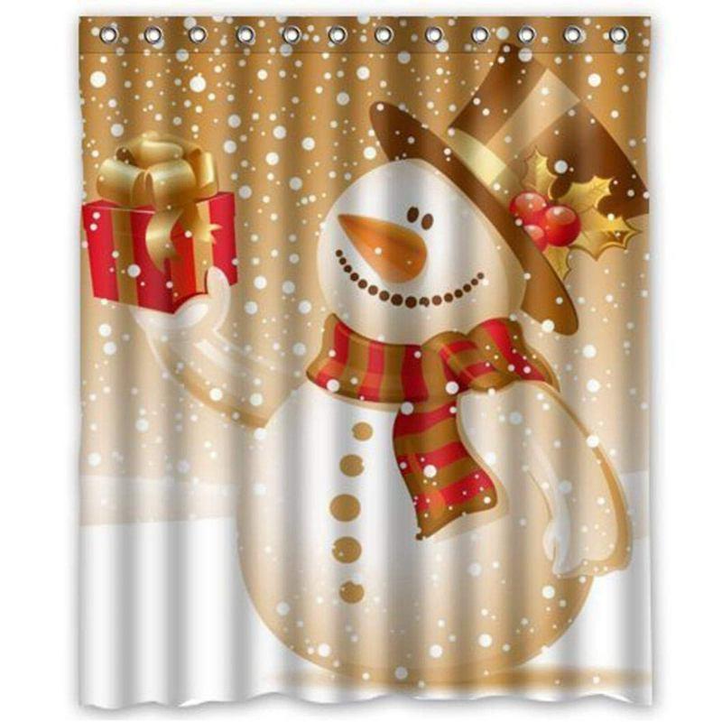 Image Is Loading N7J6 Shower Curtain Christmas Snowman Design Waterproof Bathroom